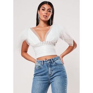 WHITE TULLE AND FAUX LEATHER CROP TOP